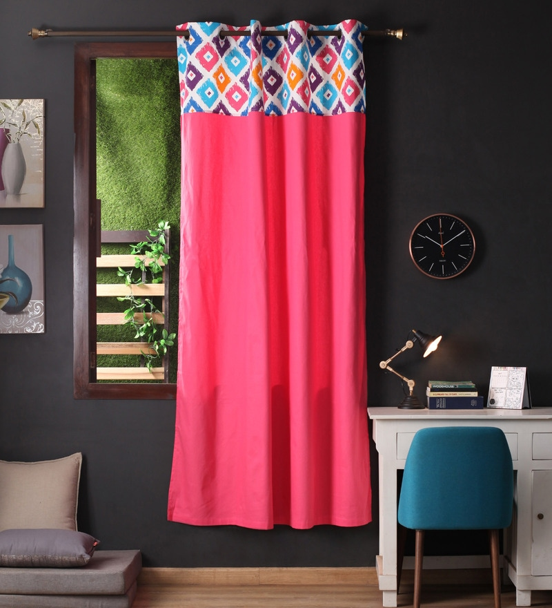 Lushomes Multicolour Cotton 90 x 54 Inch Square Printed Bloomberry Door Curtain with 8 Eyelets & Printed Tiebacks  -1 Piece