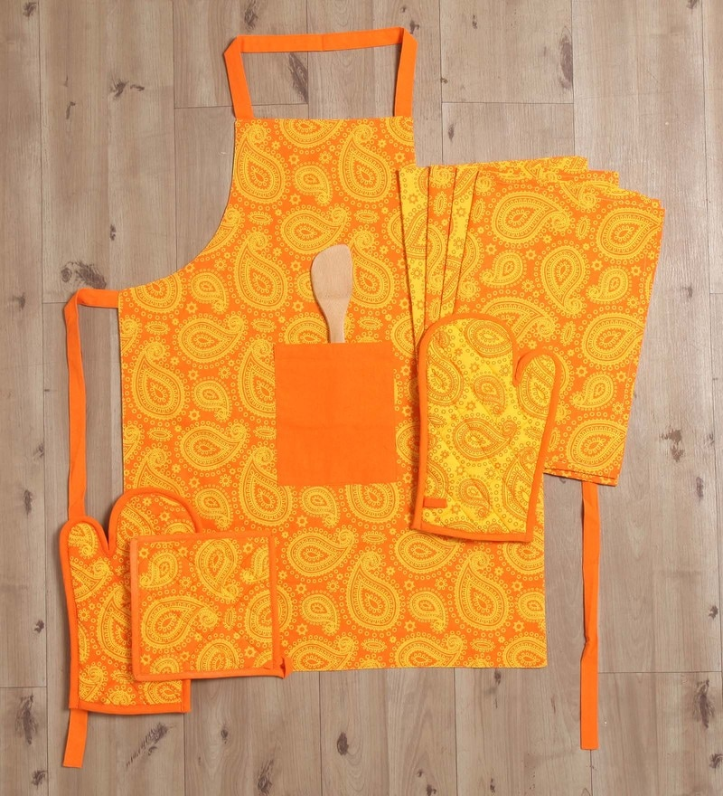 Lushomes Multicolour Cotton Printed 2 In 1 Stylish Reversible Apron Set - Set of 8