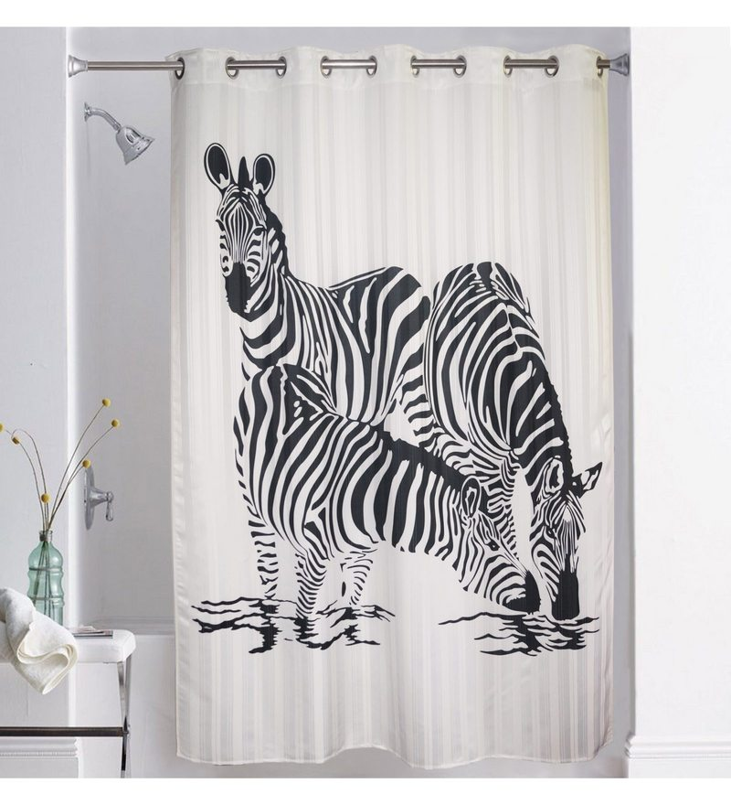 White & Black Polyester 78 x 82 Inch Digitally Printed Zebra Shower Curtain by Lushomes