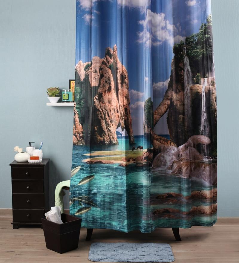 Lushomes Multicolour Polyester 82 x 72 Aqua Shower Curtain