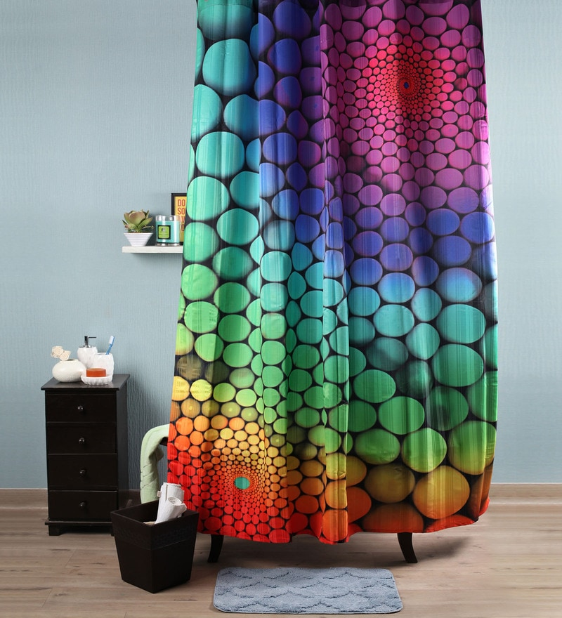 Multicolour Polyester 82 x 72 Marbles Shower Curtain by Lushomes