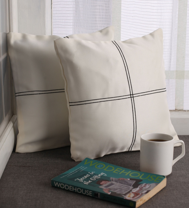 Off-White Blackout Polyester 12 x 12 Inch Cushion Cover with Artistic Stitch - Set of 2 by Lushomes