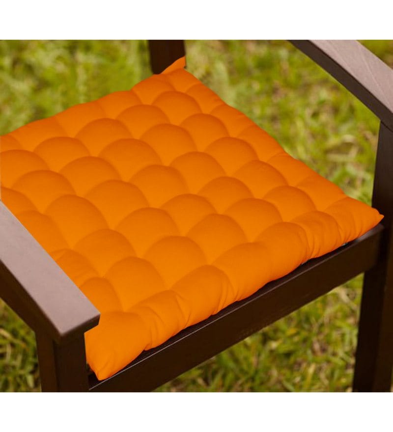 Orange Cotton 16 x 16 Inch Chair Cushion with 36 Knots & 4 Tie Backs by Lushomes