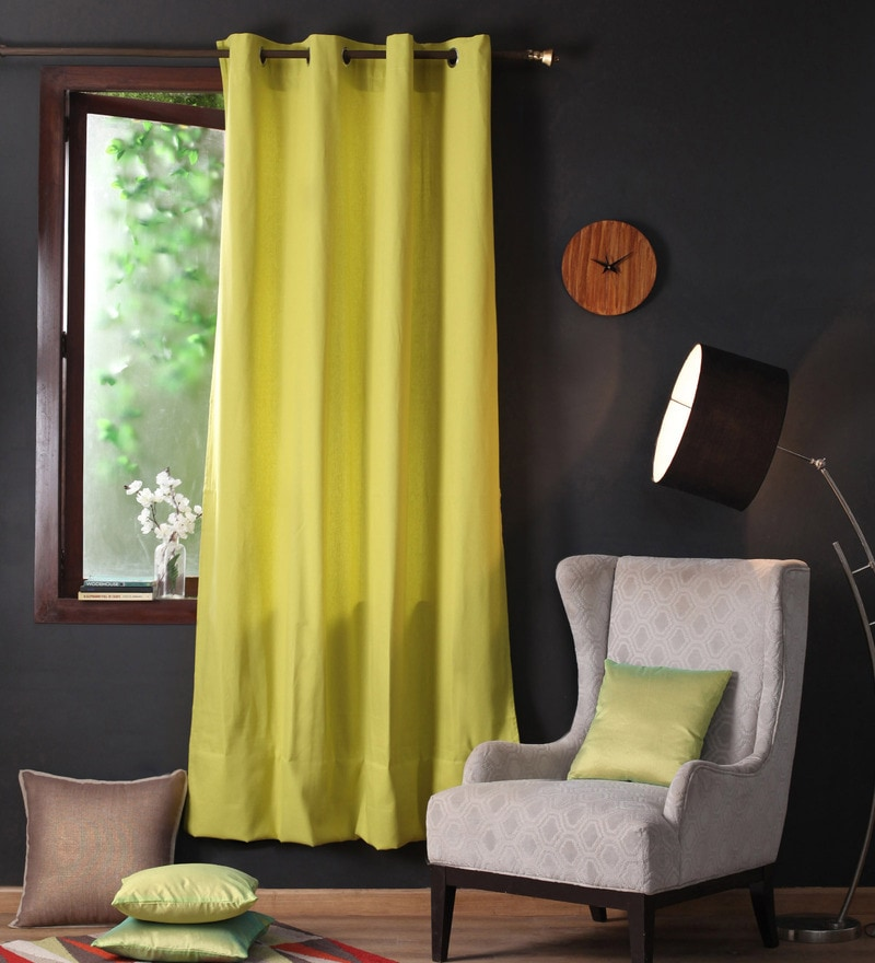 Palm Cotton 90 x 54 Inch Plain Door Curtain with 8 Eyelets & Plain Tiebacks - Set of 2 by Lushomes