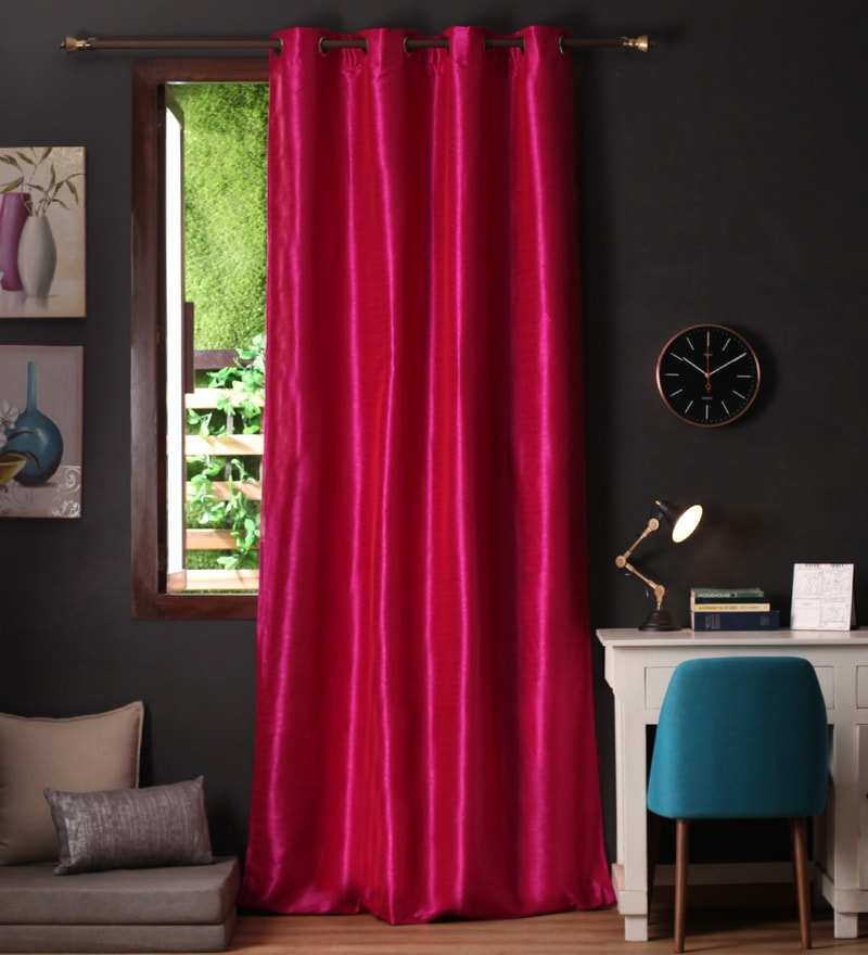 Lushomes Pink Polyester 108 x 54 Inch Twinkle Star 8 Eyelets Long Door Curtain with Blackout Lining  -1 Piece