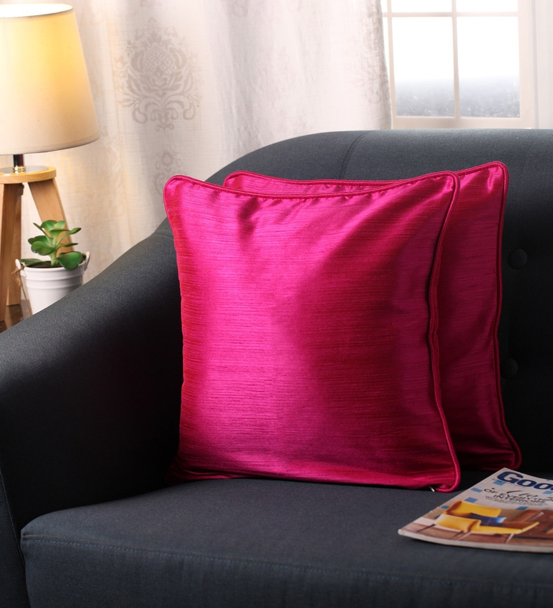 Pink Polyester 16 x 16 Inch Twinkle Star Cushion Covers with Cord Piping - Set of 2 by Lushomes
