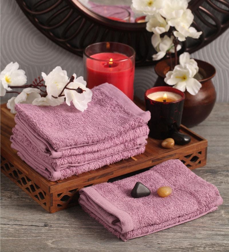 Purple Cotton 12 x 12 Face Towel - Set of 6 by Lushomes