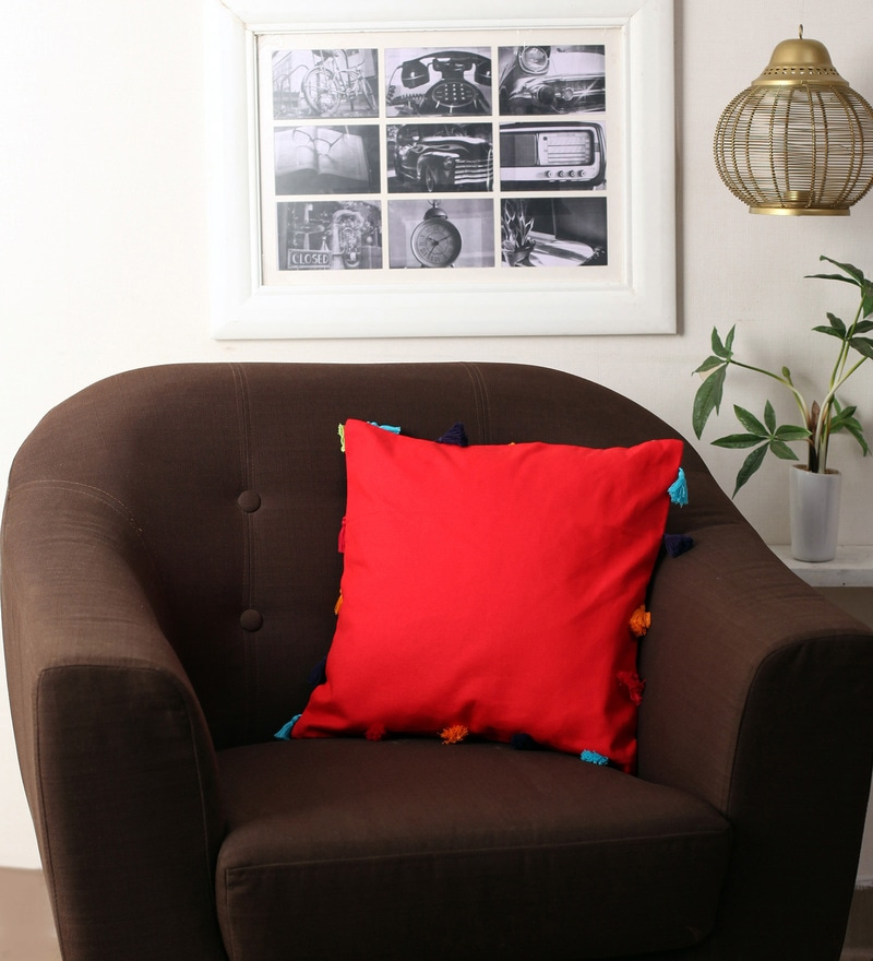 Red Cotton 16 x 16 Inch Cushion Cover with Pom Pom by Lushomes