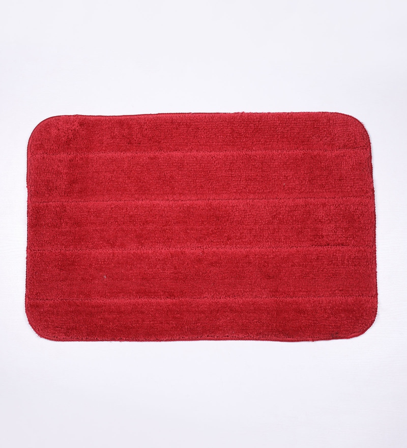 Lushomes Red Polyester Bath and Contour Mat - Set of 2