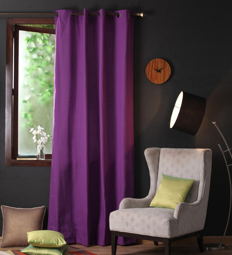 Lushomes Royal Lilac Cotton 108 x 54 Inch Plain Long Door Curtain with 8 Eyelets & Plain Tiebacks  -1 Piece