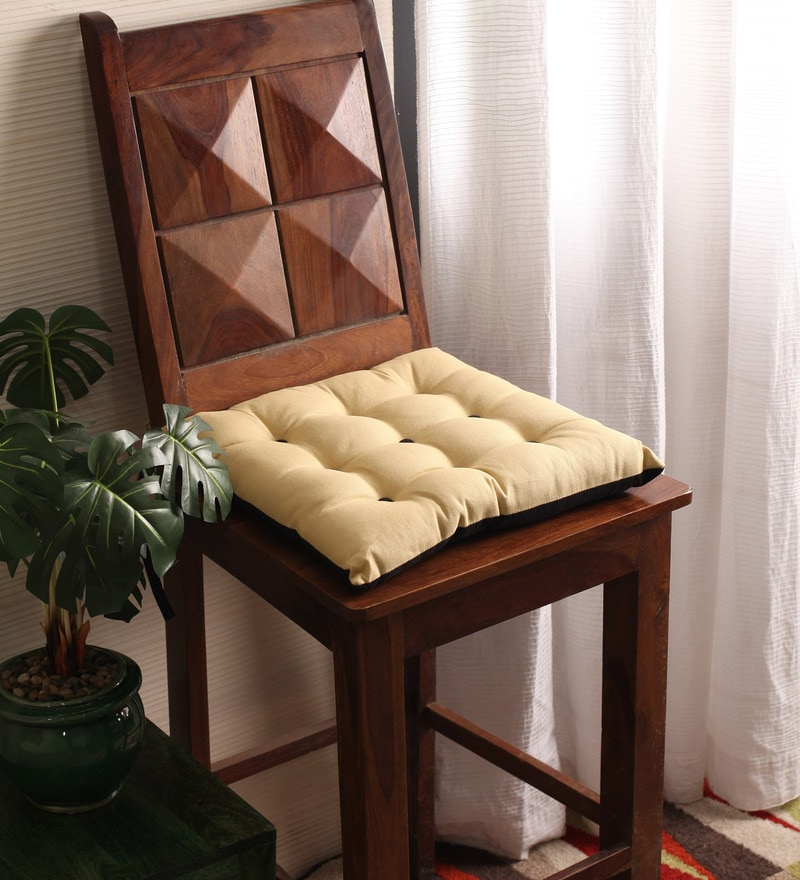 Sand & Pirate Black Cotton & Polyester 16 x 16 Inch Half Panama Chair Pad by Lushomes