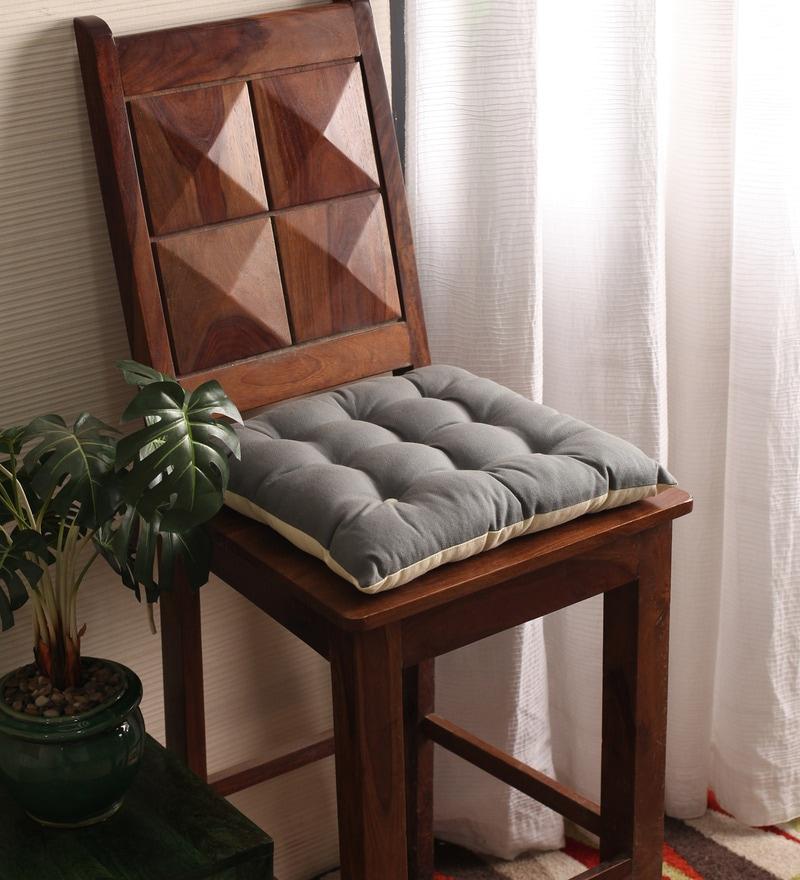 Sedona Sage & Ecru Cotton & Polyester 16 x 16 Inch Half Panama Chair Pad by Lushomes