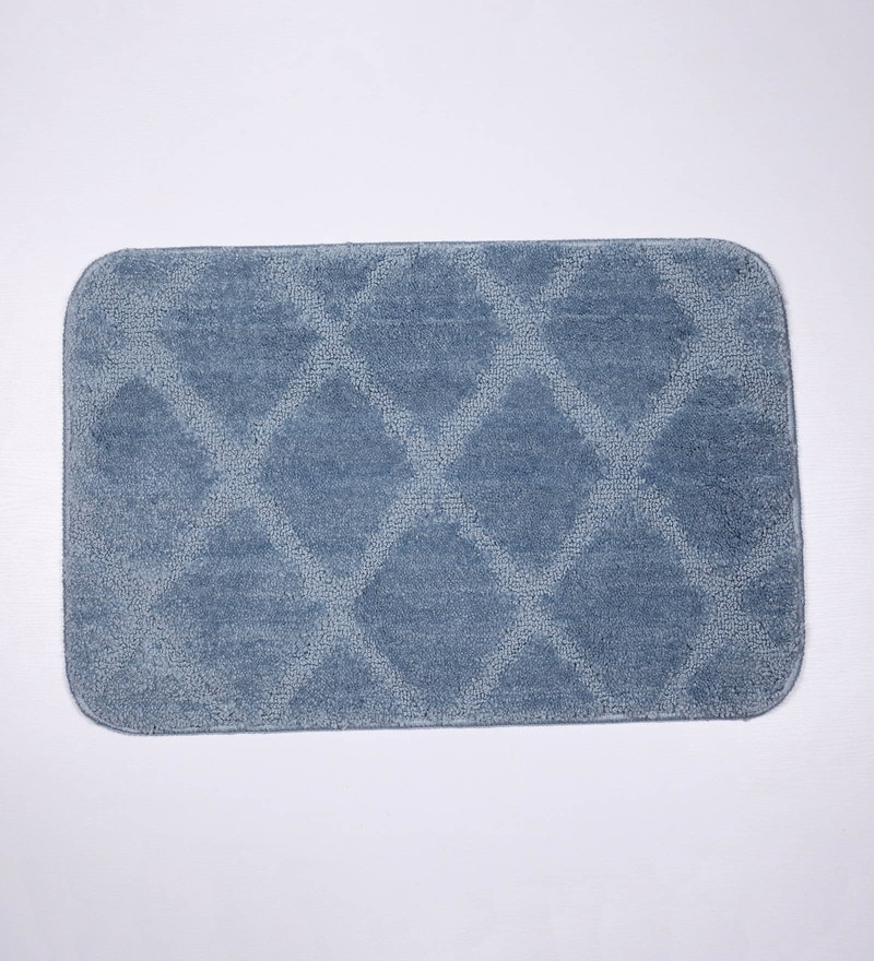 Lushomes Silver Polyester Bath and Contour Mat-Set of 2