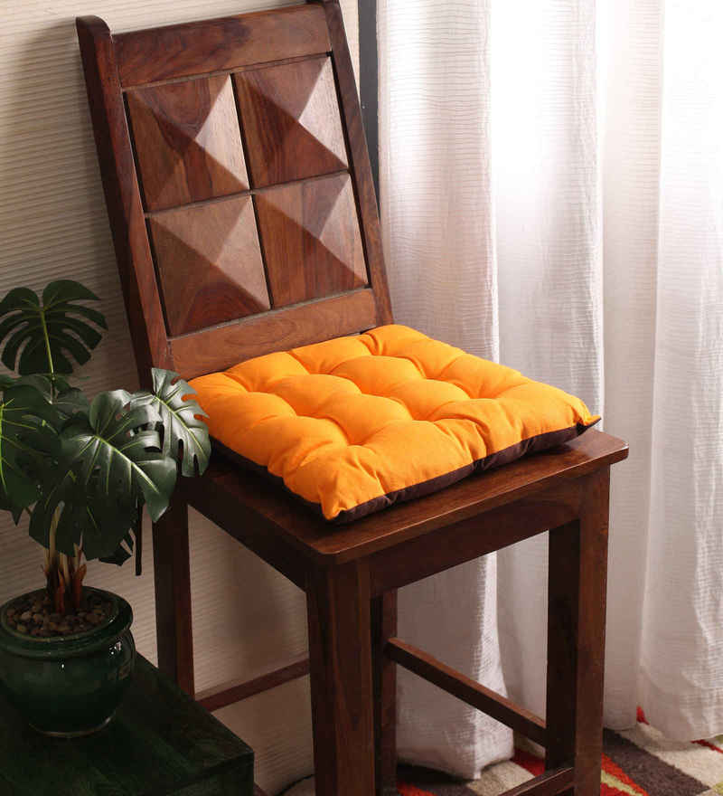 Sun Orange & French Roast Cotton & Polyester 16 x 16 Inch Half Panama Chair Pad by Lushomes