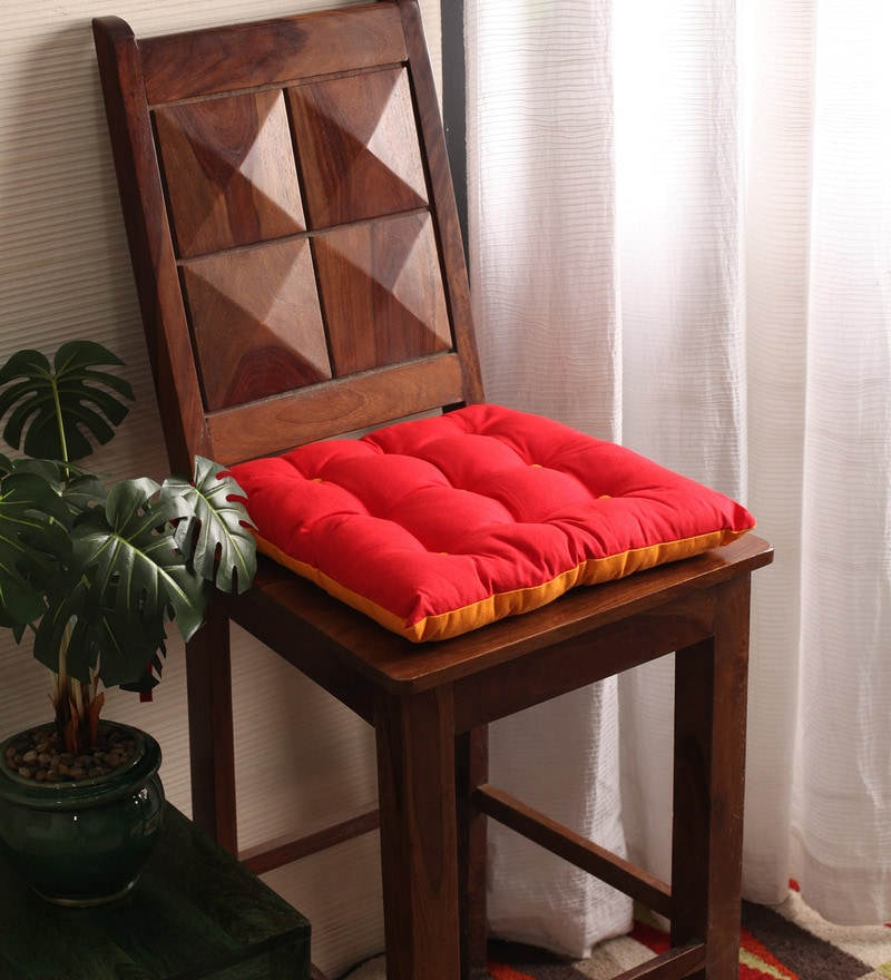 Tomato & Sun Orange Cotton & Polyester 16 x 16 Inch Half Panama Chair Pad by Lushomes