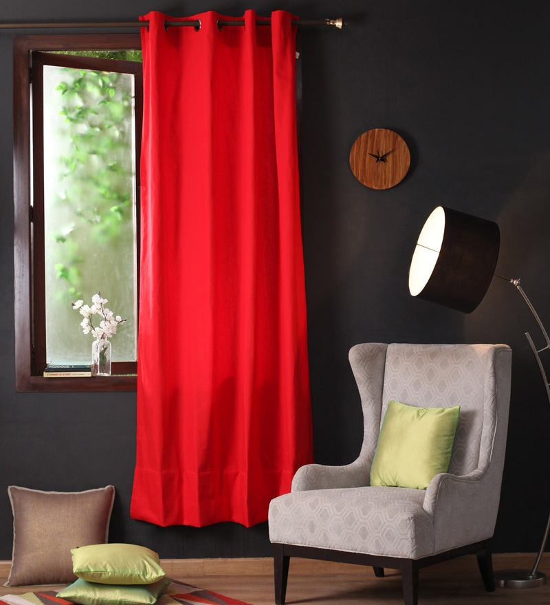 Tomato Cotton 90 x 54 Inch Plain Door Curtain with 8 Eyelets & Plain Tiebacks -1 Piece by Lushomes