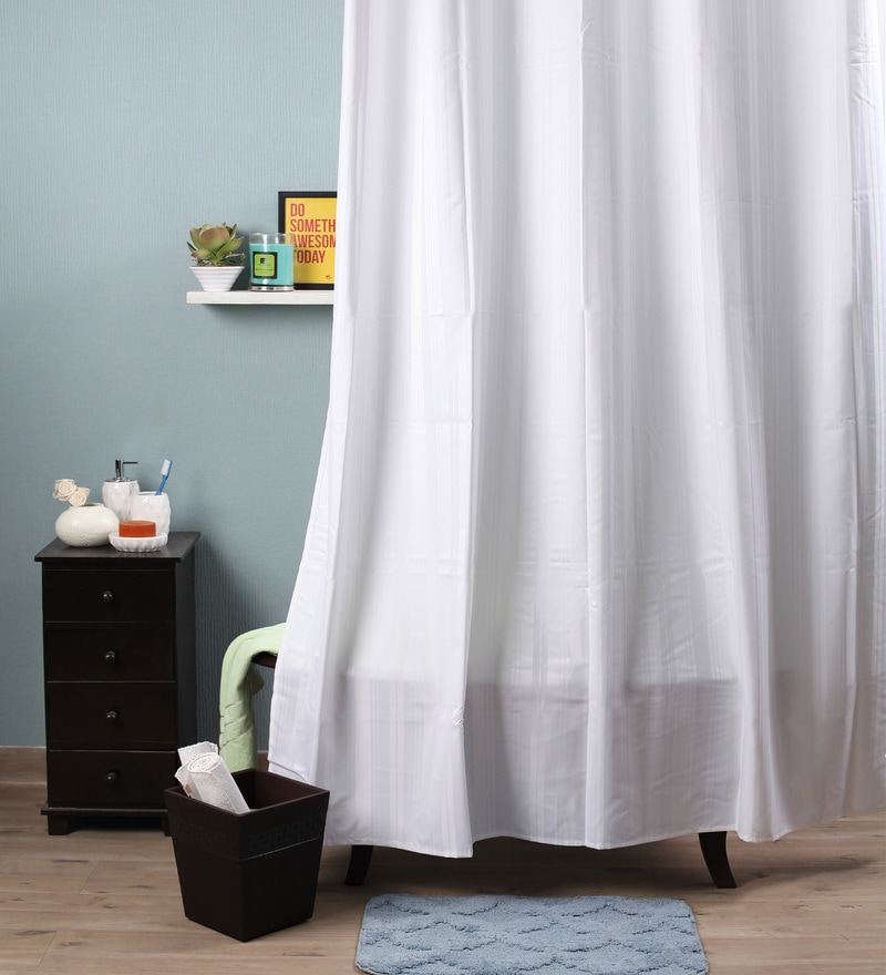 White Polyester 82 x 72 Shower Curtain by Lushomes