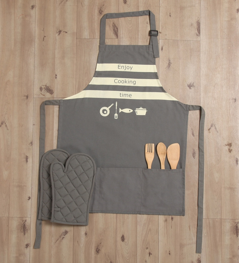 Lushomes Witty Enjoy Cooking Time Grey Cotton Apron with 2 Oven Mittens