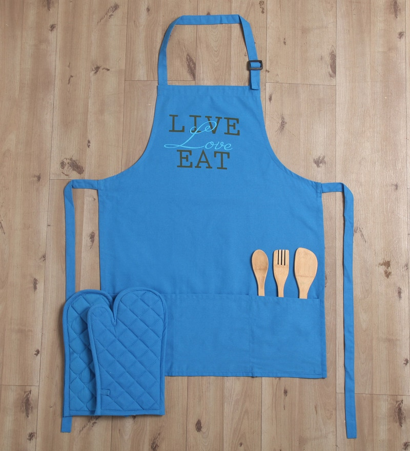 Lushomes Witty Live Love Eat Blue Cotton Apron with 2 Oven Mittens