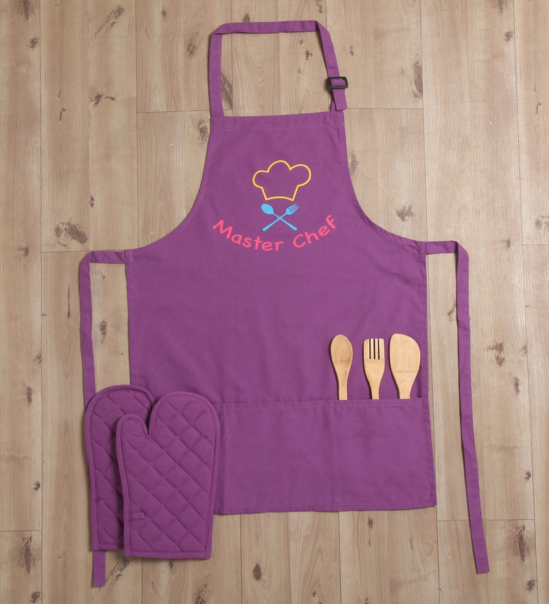 Lushomes Witty Top Chef Purple Cotton Apron with 2 Oven Mittens