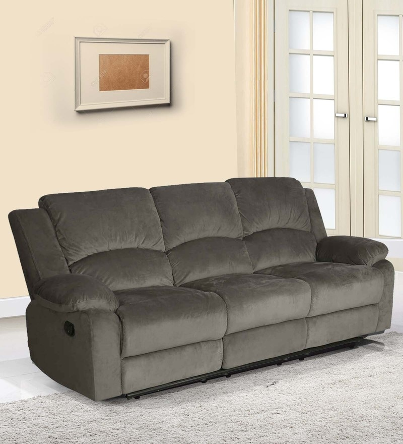 Luxury Three Seater Sofa with Two Manual Recliners in Coffee Brown Colour by @Home