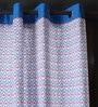 Lushomes Blue Cotton 60 x 54 Inch Diamond Printed Windows Curtain with 8 Eyelets & Plain Tiebacks  -1 Piece