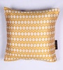 Gold and White Polyester 16 x 16 Inch Jacquard Cushion Covers - Set of 2 by Lushomes