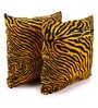 Lushomes Golden Yellow Polyester 24 x 24 Inch Zebra Skin Printed Cushion Covers - Set of 2