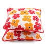 Lushomes Multicolour Cotton 12 x 12 Inch Basic Printed Cushion Covers with Co-Ordinating Cord Piping - Set of 2