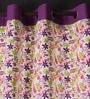 Lushomes Multicolour Cotton 90 x 54 Inch Rain Printed Door Curtain with 8 Eyelets & Plain Tiebacks  -1 Piece