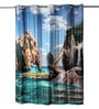 Lushomes Multicolour Polyester 82 x 72 Aqua Shower Curtain