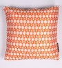 Lushomes Orange and White Polyester 16 x 16 Inch Jacquard Cushion Covers - Set of 2