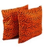 Lushomes Orange Polyester 24 x 24 Inch Leopard Skin Printed Cushion Covers - Set of 2