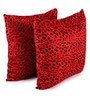 Lushomes Red Polyester 24 x 24 Inch Leopard Skin Printed Cushion Covers - Set of 2