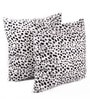 White Polyester 24 x 24 Inch Leopard Skin Printed Cushion Covers - Set of 2 by Lushomes