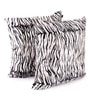 White Polyester 24 x 24 Inch Tiger Skin Printed Cushion Covers - Set of 2 by Lushomes