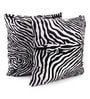 White Polyester 24 x 24 Inch Zebra Skin Printed Cushion Covers - Set of 2 by Lushomes