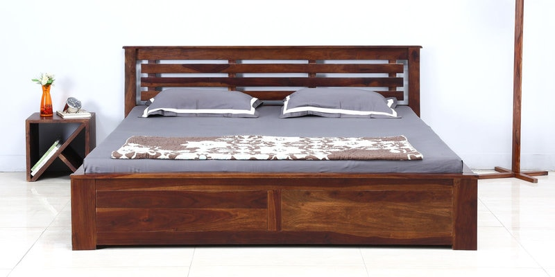 Lynnwood King Bed with Box Storage in Provincial Teak Finish by Woodsworth
