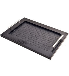 Machi Polished Black Irises Wooden Tray With Steel Handle - Set Of 2