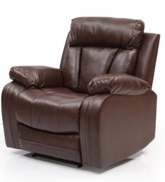 ... Magna One Seater Manual Recliner Sofa In Dark Brown Leatherette