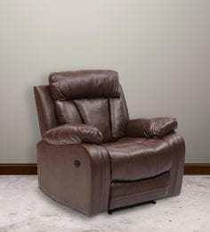 Magna One Seater Manual Recliner Sofa In Dark Brown Leatherette ...
