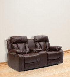 Magna Two Seater Recliner Sofa In Dark Brown Leatherette ...