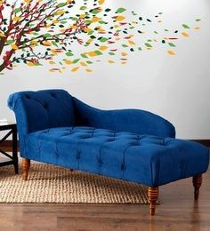 Maiken Button Tufted Chaise In Blue Colour