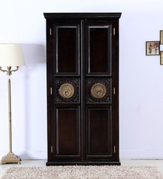 Malava Two Door Wardrobe With Brass Repousse Work In Warm Chestnut Finish