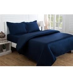 Maspar Blue 100% Cotton King Size Bed Sheet - Set Of 3