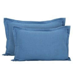 Blue Cotton And Viscose 20 X 30 Inch Carnival Prime Queen Pillow Covers - Set Of 2