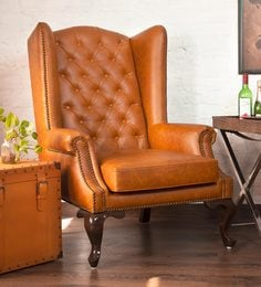 mayors wing chair in leather in tangerine colour