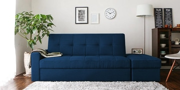 Maceio Storage Sofa Cum Bed With Ottoman In Blue Colour