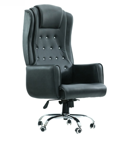 Buy Furniture Office Chairs Executive Chairs Maharaja High Back Executive Chair In Black Leatherette By Furniease