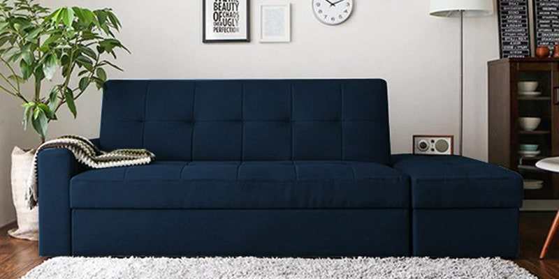 Maceio Storage Sofa cum Bed with Ottoman in Blue Colour by CasaCraft
